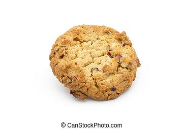 arrière-plan., biscuits, blanc, canneberges, flocons avoine