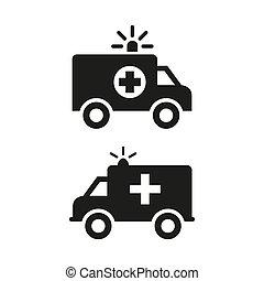 arrière-plan., blanc, ambulance, icônes