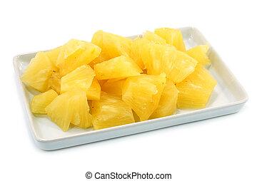 arrière-plan., blanc, ananas, tranches
