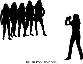 arrière-plan., blanc, appareil photo, femmes