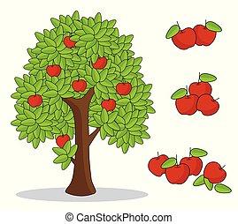 arrière-plan., blanc, arbre, pomme, rouges