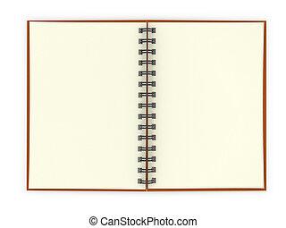 arrière-plan., blanc, cahier