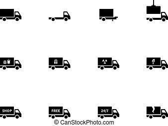 arrière-plan., blanc, camion, icônes