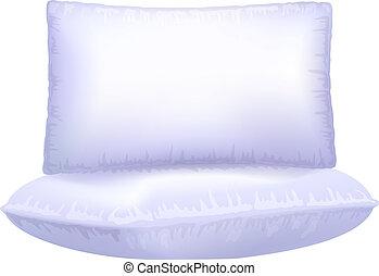 arrière-plan., blanc, deux, oreillers