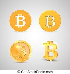 arrière-plan., blanc, ensemble, bitcoin, icônes