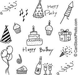 arrière-plan., blanc, ensemble, doodles, fête