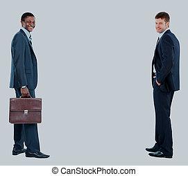 arrière-plan., blanc, hommes affaires, isolé, deux