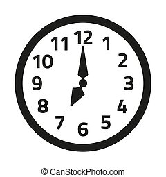 arrière-plan., blanc, horloge, icône