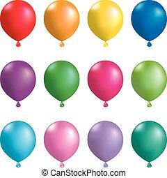 arrière-plan., blanc, isolé, ballons colorés