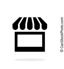 arrière-plan., blanc, kiosque, icône