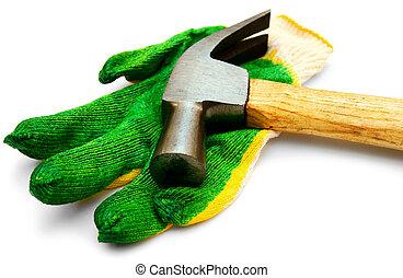 arrière-plan., blanc, marteau, gant
