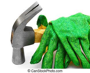 arrière-plan., blanc, marteau, gloves.