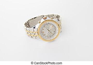 arrière-plan., blanc, montre-bracelet, isolé