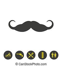arrière-plan., blanc, moustache, icône