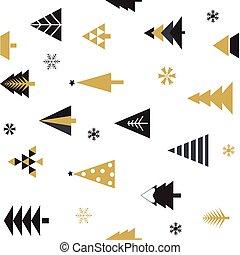 arrière-plan., blanc, or, noël, seamless, modèle, noir, arbres