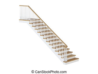 arrière-plan., blanc, rendering., escalier, 3d