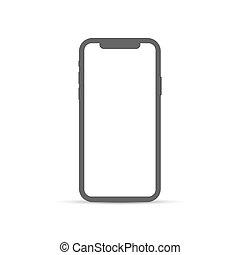 arrière-plan., blanc, téléphone, signe., plat, isolé, moderne, smartphone, icône, simple