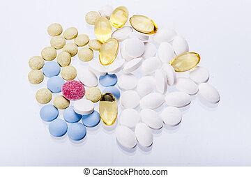 arrière-plan., blanc, tablettes
