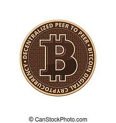 arrière-plan., blanc, vecteur, bitcoin, monnaie