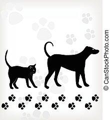 arrière-plan., blanc, vecteur, chien, chat