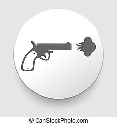 arrière-plan., blanc, vecteur, revolver, icône