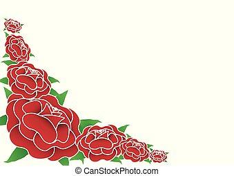 arrière-plan., blanc, vecteur, roses rouges