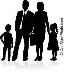 arrière-plan., blanc, vecteur, silhouette, family.