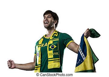 arrière-plan., blanc, ventilateur, célébrer, brésilien