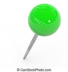 arrière-plan., blanc, vert, pushpin