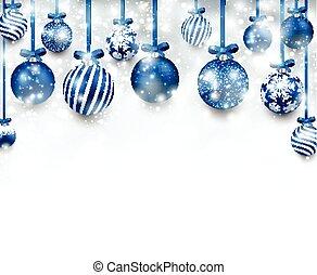 arrière-plan bleu, arc, noël, balls.