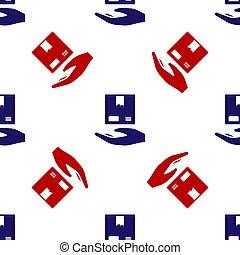 arrière-plan., bleu, boîtes, porte, main, courier., vecteur...
