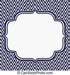 arrière-plan bleu, cadre, zigzag, chevron, marine, blanc