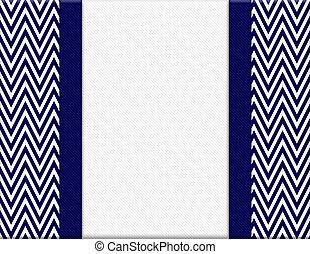 arrière-plan bleu, cadre, zigzag, chevron, marine, ruban blanc