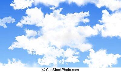 arrière-plan bleu, ciel, boucle, animation, vert, écran, ...
