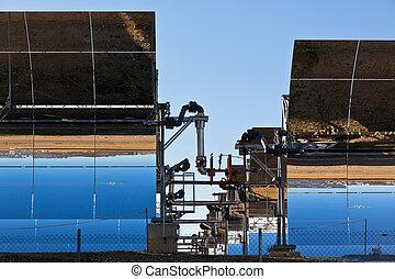 arrière-plan bleu, ciel, clair, panneaux solaires