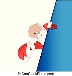 arrière-plan bleu, claus, beckons, santa, blanc rouge, vêtements