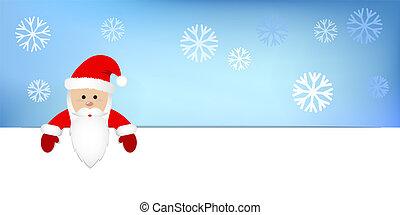 arrière-plan bleu, claus, neige, santa, vêtements rouges