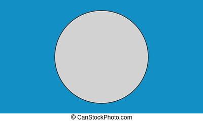 arrière-plan bleu, contre, cercle