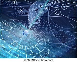 arrière-plan bleu, diagramme, astrologique