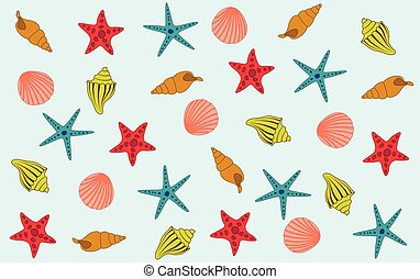 arrière-plan bleu, etoile mer, coloré, coquilles