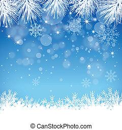 arrière-plan bleu, flocon de neige
