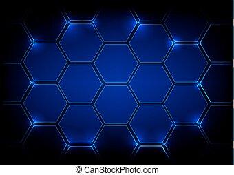arrière-plan bleu, hexagone, résumé
