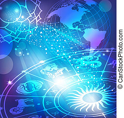 arrière-plan bleu, horoscope