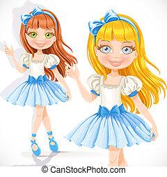 arrière-plan bleu, isolé, ballerine, peu, robe, blanc, girl, mignon