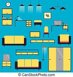 arrière-plan bleu, isolé, bureau, ensemble, meubles, dessin animé, grand, maison