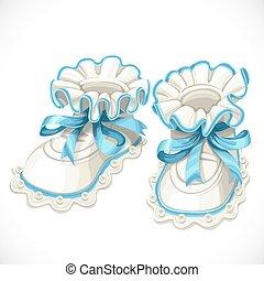 arrière-plan bleu, isolé, butins, bébé, blanc