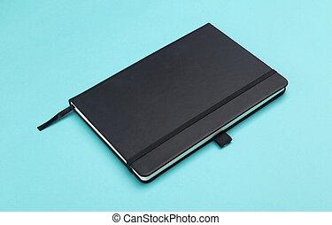arrière-plan bleu, isolé, cahier, noir