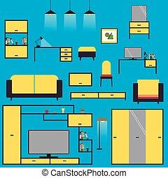 arrière-plan bleu, isolé, ensemble, meubles, dessin animé, maison