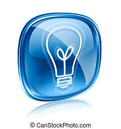 arrière-plan bleu, lumière, isolé, verre, ampoule, blanc, icône
