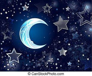 arrière-plan bleu, lune